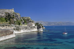 Castle, Wall, Temple and Coast Corfu, Greece Stock Photography