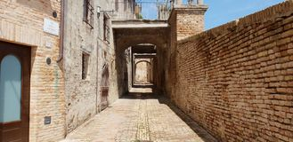 Castle wall and tower. Ancient and medieval wall of italian castle. Historical wonderful site stock photos