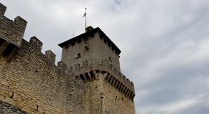 Castle wall and tower. Ancient and medieval wall of italian castle. Historical wonderful site stock photo