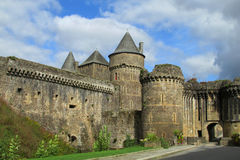 Castle wall and tower in France Stock Images