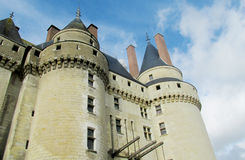 Castle wall and tower in France. Medival castle walls in the city. Chateau Royal, France. Castles in the valley of river Loire, les chateaux de la Loire stock images