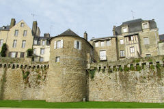Castle wall and tower in France Royalty Free Stock Photos
