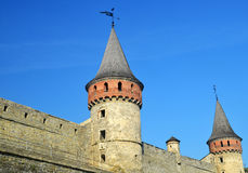 Castle wall and tower. Medieval fortification Royalty Free Stock Photo