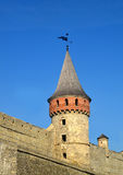 Castle wall and tower. Medieval fortification Stock Photography