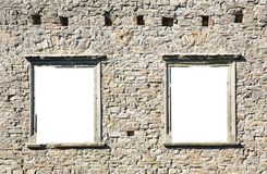 Castle wall with two windows on a white background Stock Image