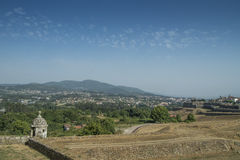 Castle wall of valeça with the city behind Stock Photo