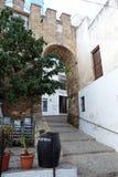 Castle wall, Vejer de la Frontera. Steps leading to an arch in the castle wall, Vejer de la Frontera, Costa de la Luz, Cadiz Province, Andalusia, Spain, Western Stock Photography