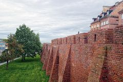 Castle wall in Warsaw, Poland royalty free stock images