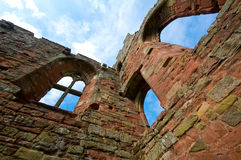 Castle walls. Looking up at the inside of Castle walls Stock Photo