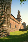 Castle Walls. A picture of the exterior walls of a castle, made of red bricks Stock Image