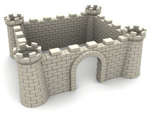 Castle walls. 3d illustration of fortress walls with empty space inside, white color Stock Images