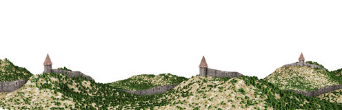 Castle walls. Illustration of a long wall of a medieval border fortification. Isolated on white background Stock Images