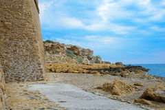 Castle walls in Isola di Capo Rizzuto, the province of Crotone, Stock Photo