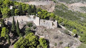 Castle walls on mountain view. Aerial shot stock video