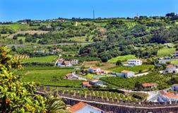 Castle Walls Orange Roofs Farmland Countryside Obidos Portugal Royalty Free Stock Photos