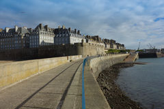 Castle walls of Saint Malo old town and port over sea as viewed Royalty Free Stock Photo