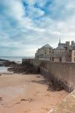 Castle walls of Saint Malo over sea Stock Image