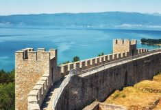 Castle Samuil And Lake Ohrid, Republic Of Macedonia - royalty free stock photo