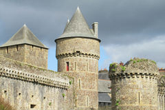 Castle walls and tower in Fougeres, France Royalty Free Stock Image