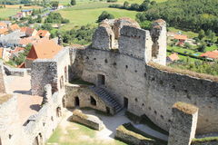 Castle walls and view to countryside Royalty Free Stock Images
