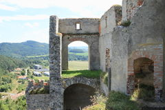 Castle walls and view to countryside Royalty Free Stock Photos