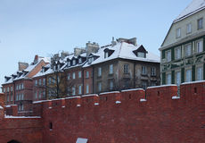Castle walls of Warsaw, Poland, old town in winter Stock Photos