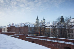 Castle walls of Warsaw, Poland in winter Stock Photo