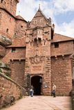 The entrance to Haut-Koenigsbourg castle in Alsace, France. The castle was known from 1147. It was abandoned during Thirty Years` War and was restored in 1900 royalty free stock images