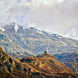 Castle watchtower in french alps Royalty Free Stock Photo