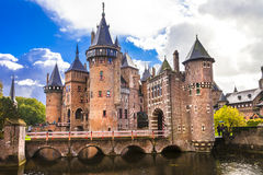 Castle on water - fairy  castle De Haar Royalty Free Stock Images