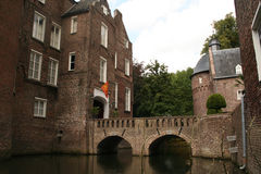 Castle of Well. 17th century castle Well, Limburg, The Netherlands, castle entrance, bridge over inner moat Royalty Free Stock Photo