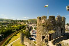 Castle and welsh landscape. Conway castle and the welsh countryside Royalty Free Stock Photography
