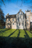 Castle Werdringen. Nearby Hagen, Germany, Westphalia with turrets and Moat during spring, huge trees, romanic, gothic mixed style architecture, historic Stock Photography