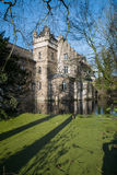Castle Werdringen. Nearby Hagen, Germany, Westphalia with turrets and Moat during spring, huge trees, romanic, gothic mixed style architecture, historic Stock Photos