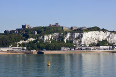Castle, white cliffs and beach of Dover Stock Photography