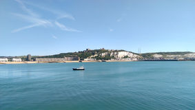 Castle, white cliffs and beach of Dover. White cliffs of Dover, castle and beach. Kent, UK stock photo