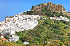 The castle and white houses in the Spanish town of Salobrena, Andalusia Stock Photography