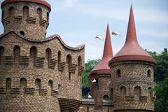 Castle with white pigeon Royalty Free Stock Photography