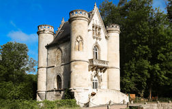The Castle of the White Queen, Coye  forest, Picardy, France. The `Castle of the White Queen`, located on the west end of the pond Commelles is the iconic Stock Images