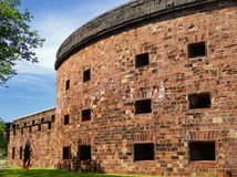 Castle Williams exterior. Castle Williams is a circular fortification of red sandstone on the northwest point of Governors Island in New York harbor United stock images