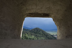 Castle window. With approaching storm Royalty Free Stock Image