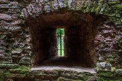 Castle ancient window of limestone stone. Castle window of limestone stone stock photos