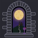 Castle window with night landscape and full moon stock illustration