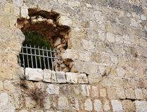 Castle Window. Old casle brick wall with a window royalty free stock image