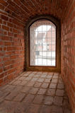 Castle window. View out of the medieval red brick castle window. Kaunas castle in Lithuania royalty free stock photography