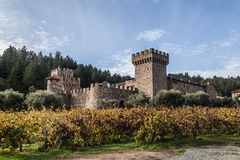 Castle winery. Castello di amorosa winery, with a view of the Napa county winery during autumn Royalty Free Stock Images