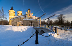 Castle in winter. Mariental Castle with gate and  leaf bridge in winter Stock Photo