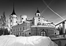 Castle in winter, monochrome. Mariental Castle with gate and  leaf bridge in winter, monochrome Royalty Free Stock Photo