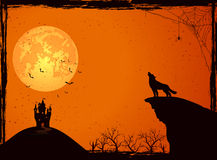 Castle and wolf on Halloween night Royalty Free Stock Photos