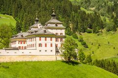 Castle Wolfsthurm in Mareta Mareit Village, Racines city in South tyrol, Italy. The baroque castle hosts the South Tyrolean Museum of Hunting and fishing Stock Photo